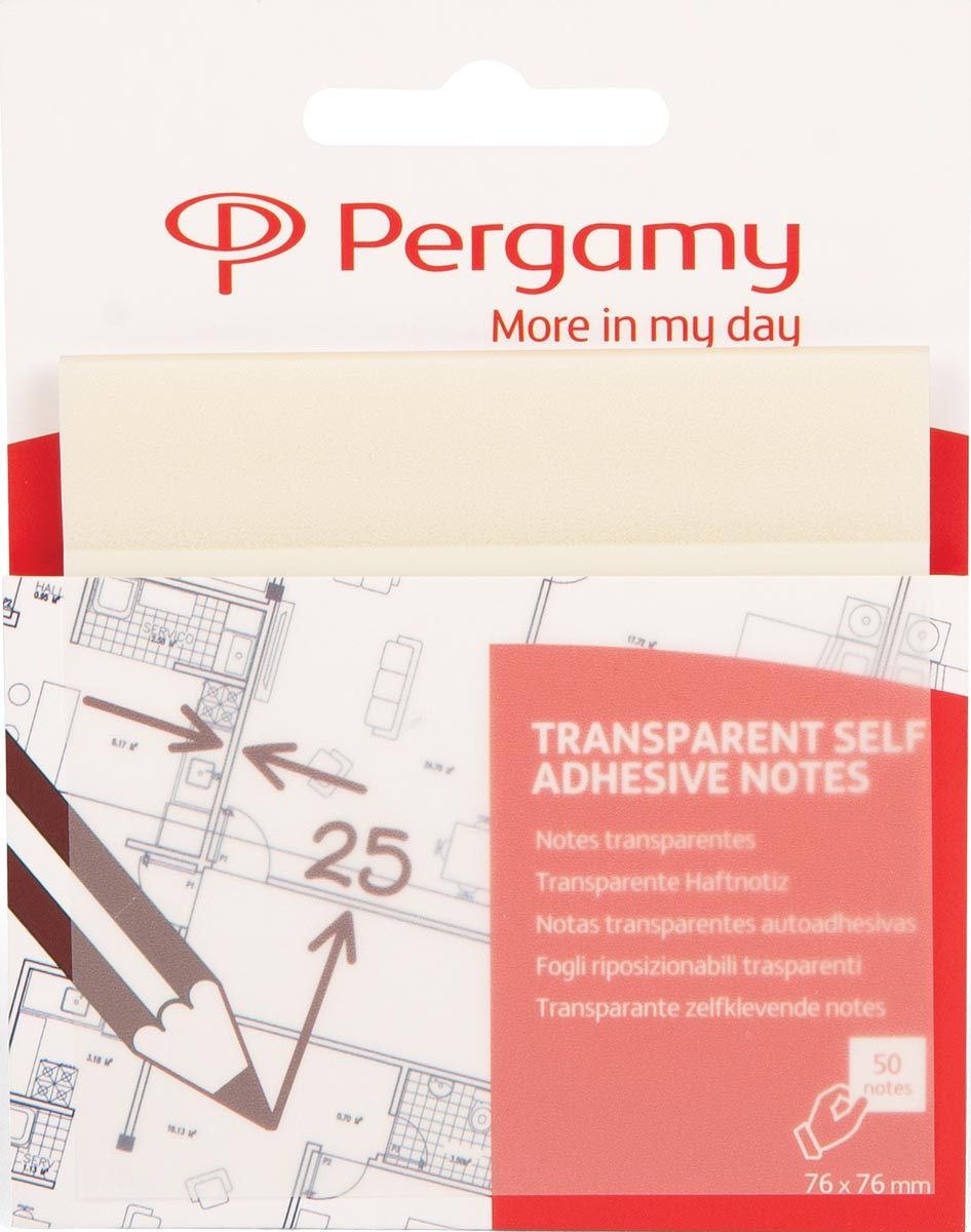 Pergamy transparante notes, ft 76 x 76 mm, 50 vel, wit