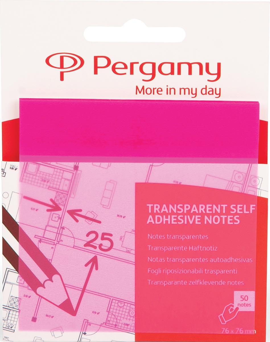 Pergamy transparante notes, ft 76 x 76 mm, 50 vel, roze