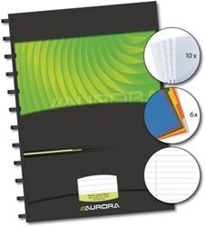Aurora notebook met harde kaft, ft A4, gelijnd, 144 bladzijden, + tabs