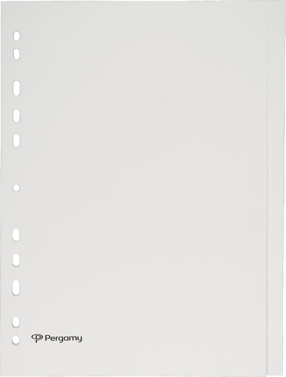 Pergamy tabbladen, ft A4, uit karton, 20 tabs, 11-gaats perforatie, beige