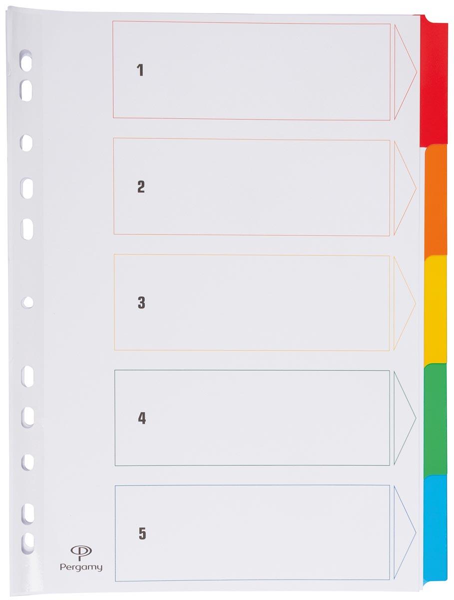 Pergamy tabbladen met indexblad, ft A4, 11-gaatsperforatie, geassorteerde kleuren, 5 tabs