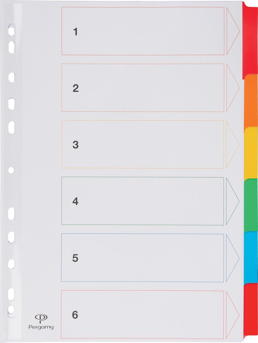 Pergamy tabbladen met indexblad, ft A4, 11-gaatsperforatie, geassorteerde kleuren, 6 tabs