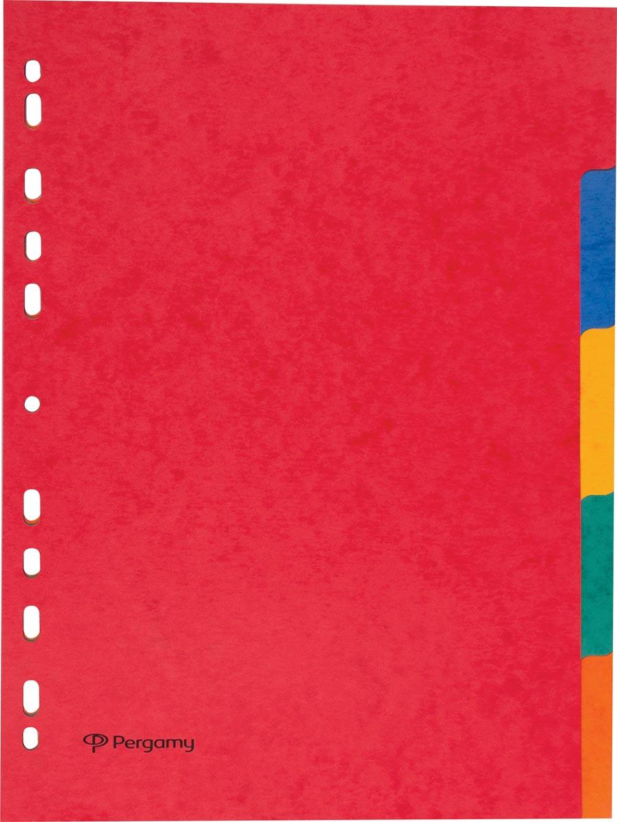 Pergamy tabbladen ft A4, 11-gaatsperforatie, stevig karton, geassorteerde kleuren, 5 tabs