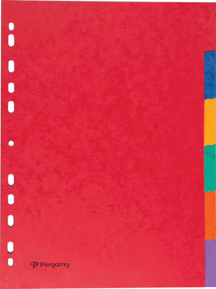 Pergamy tabbladen ft A4, 11-gaatsperforatie, stevig karton, geassorteerde kleuren, 6 tabs