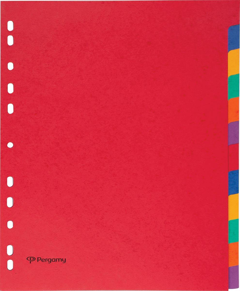 Pergamy tabbladen ft A4 maxi, 11-gaatsperforatie, stevig karton, geassorteerde kleuren, 12 tabs