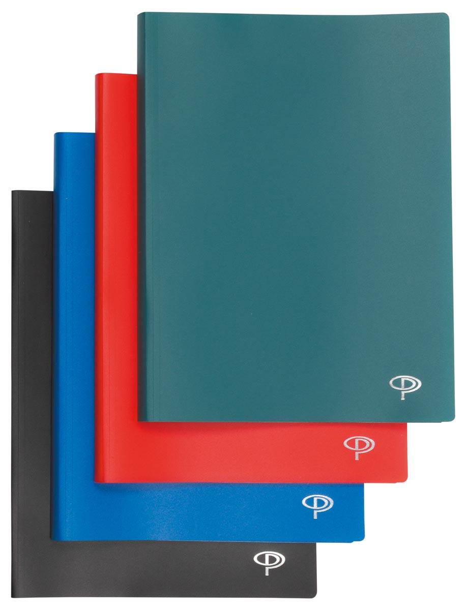 Pergamy showalbum, voor ft A4, met 40 transparante tassen, in geassorteerde kleuren