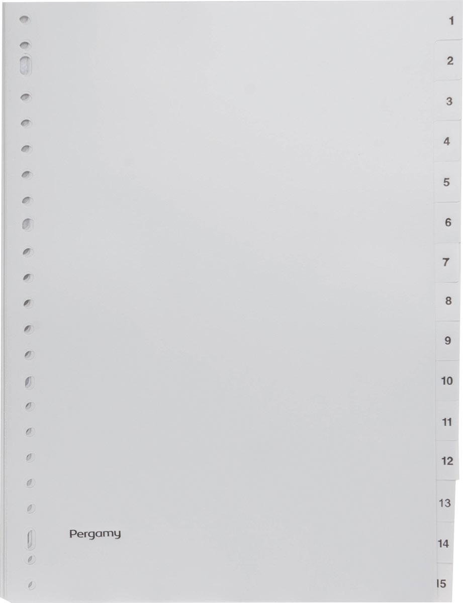 Pergamy tabbladen, ft A4, 23-gaatsperforatie, grijze PP, set 1-15