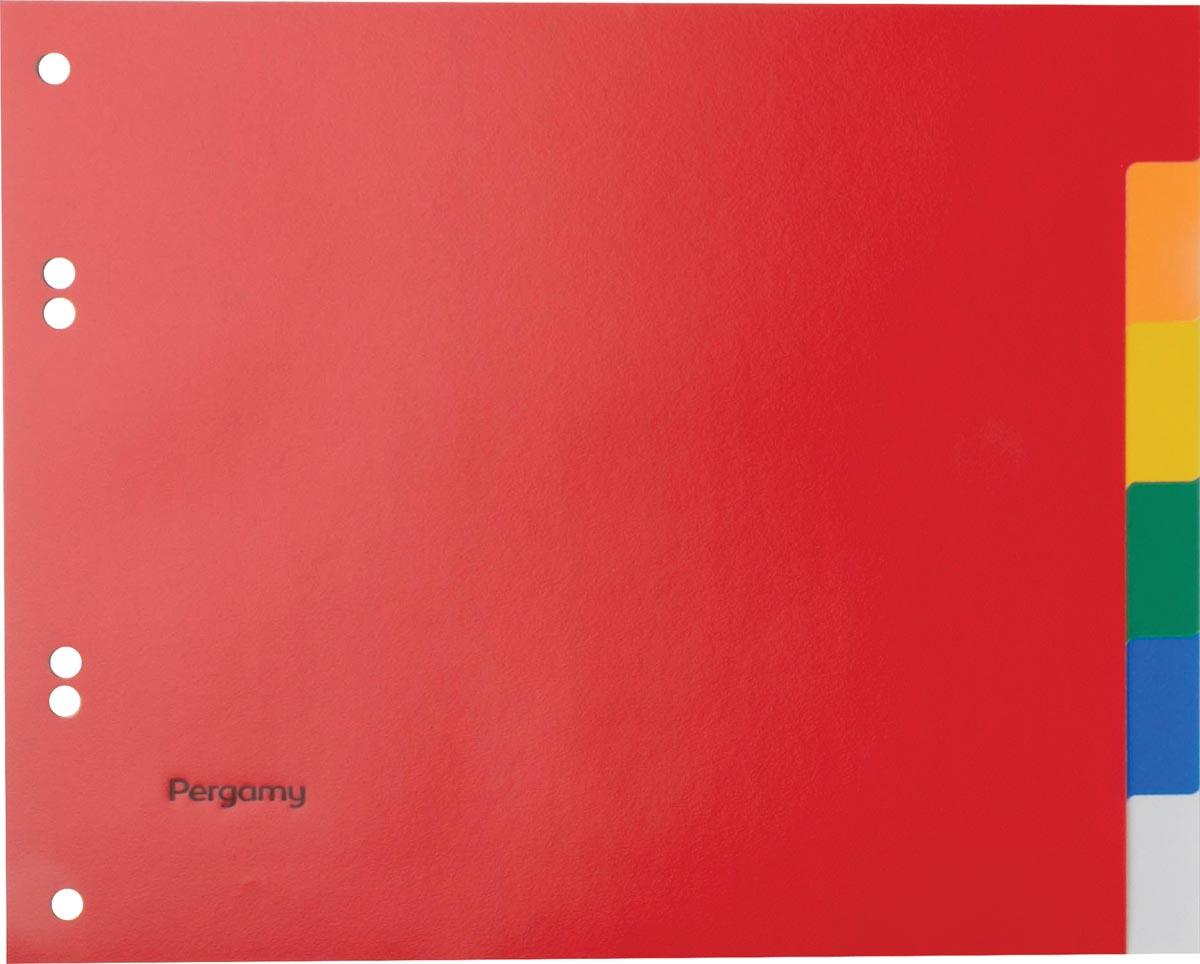Pergamy tabbladen, ft A5, 6-gaatsperforatie, PP, 6 tabs in geassorteerde kleuren