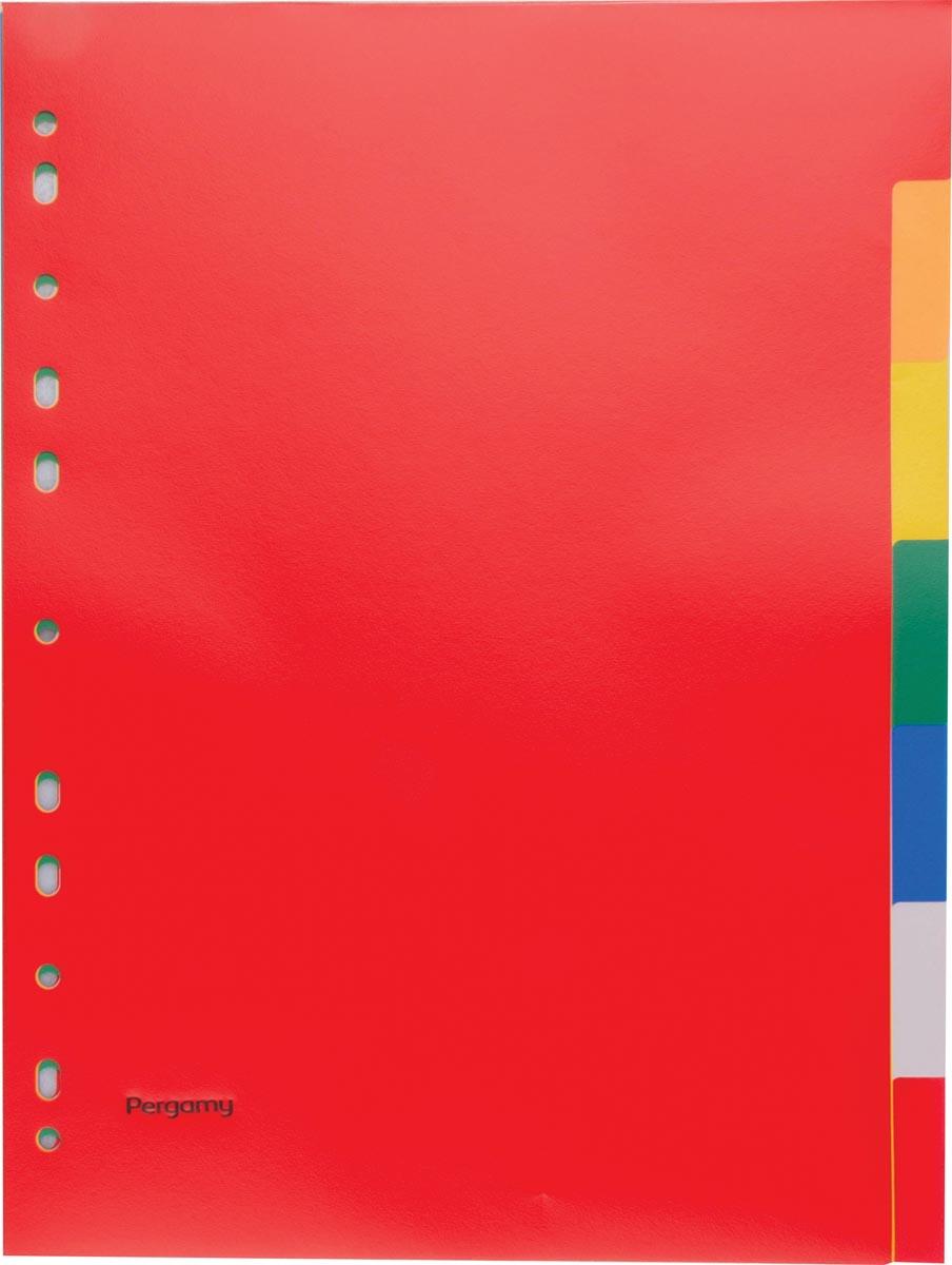 Pergamy tabbladen, ft A4, 11-gaatsperforatie, PP, 7 tabs in geassorteerde kleuren