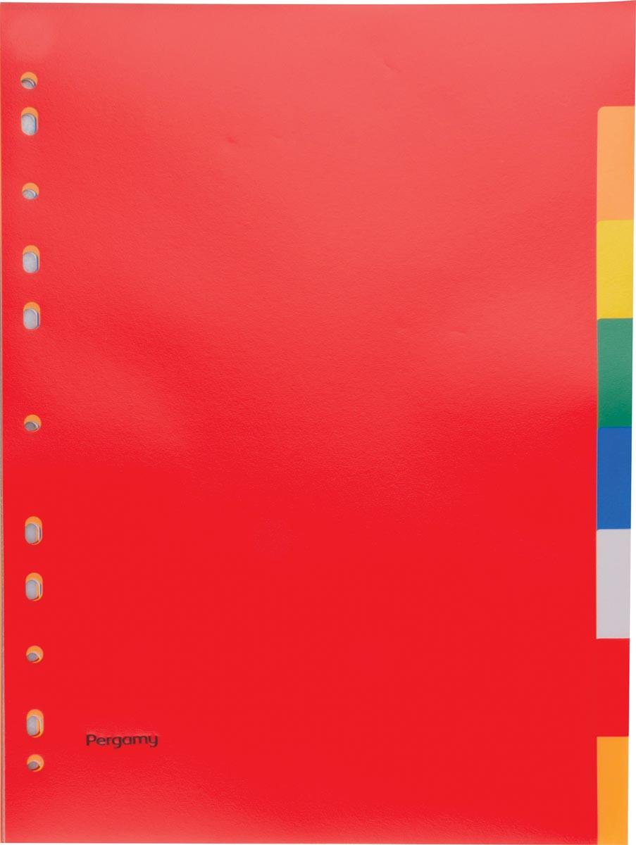 Pergamy tabbladen, ft A4, 11-gaatsperforatie, PP, 8 tabs in geassorteerde kleuren