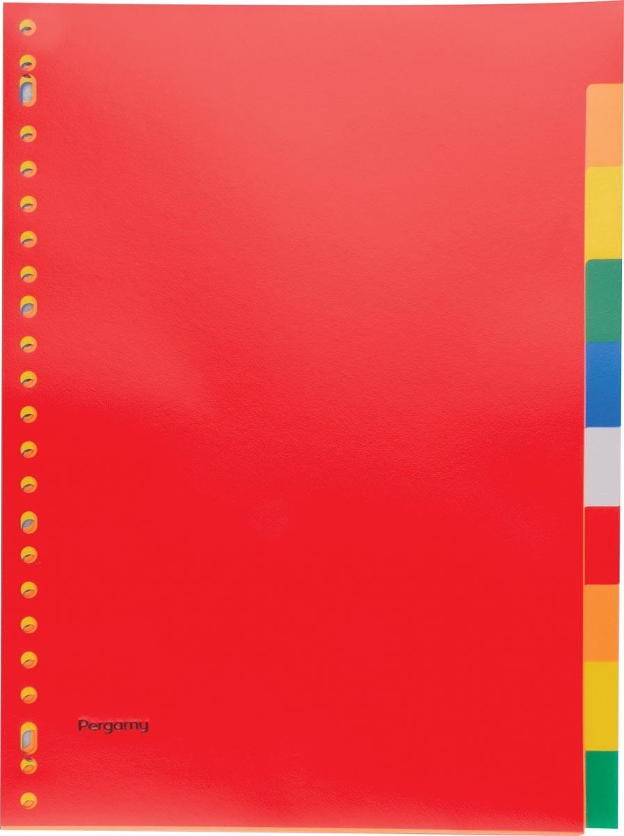 Pergamy tabbladen, ft A4, 23-gaatsperforatie, PP, 10 tabs in geassorteerde kleuren