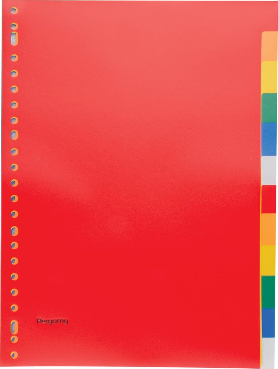 Pergamy tabbladen, ft A4, 23-gaatsperforatie, PP, 12 tabs in geassorteerde kleuren