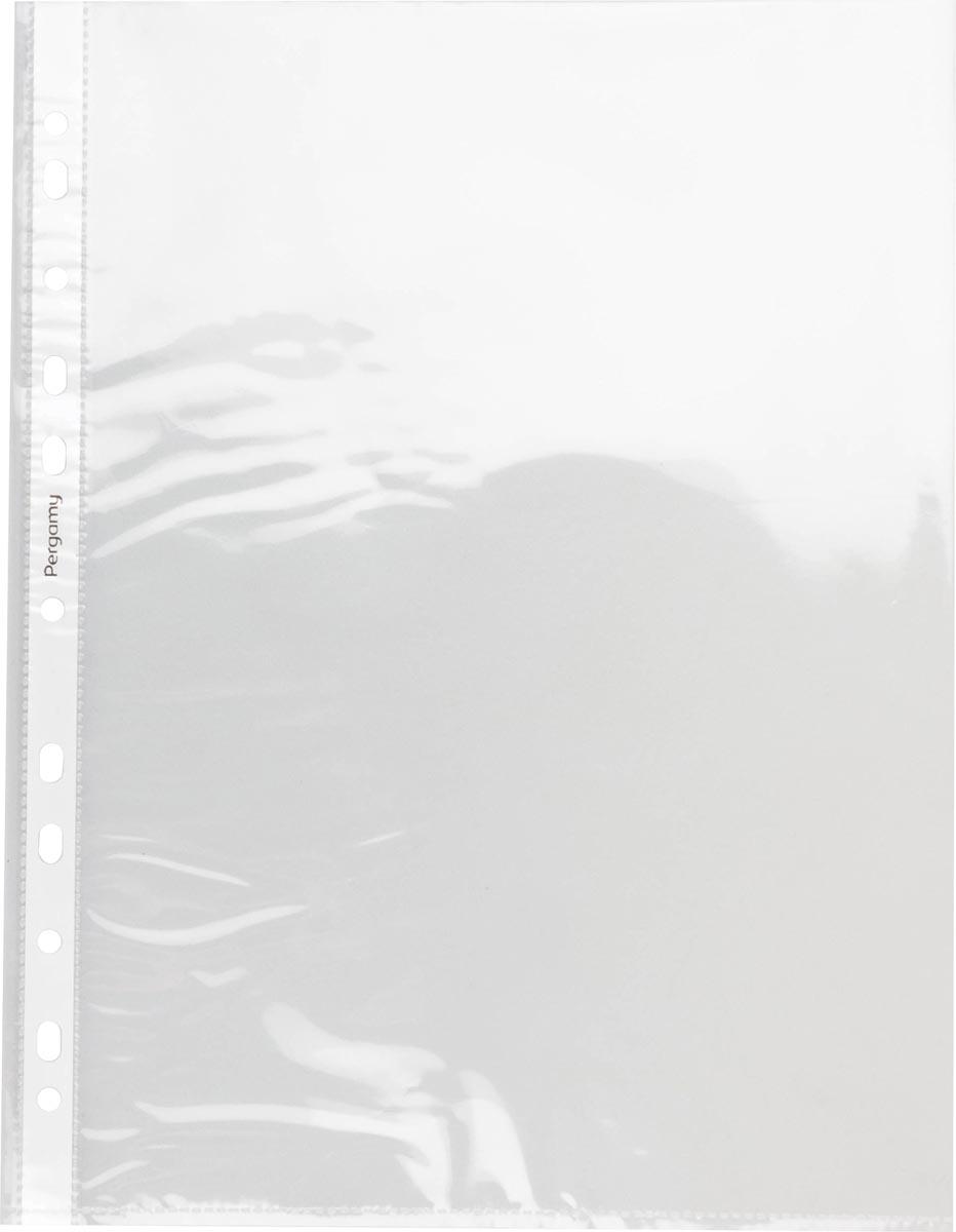 Pergamy geperforeerde showtas, ft A4, 11-gaatsperforatie, glasheldere PP van 60 micron, pak van 100