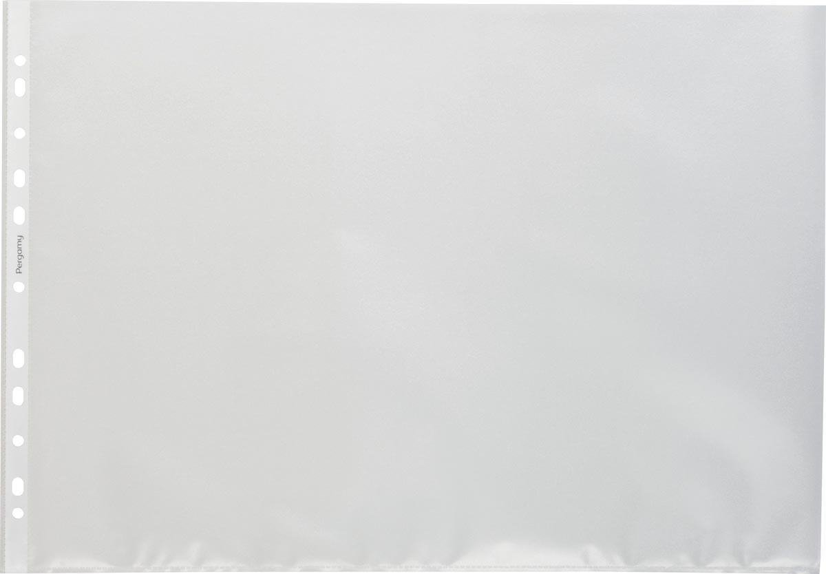 Pergamy geperforeerde showtas, ft A3 landscape, 11-gaatsperforatie, gekorrelde PP, pak van 100 stuks