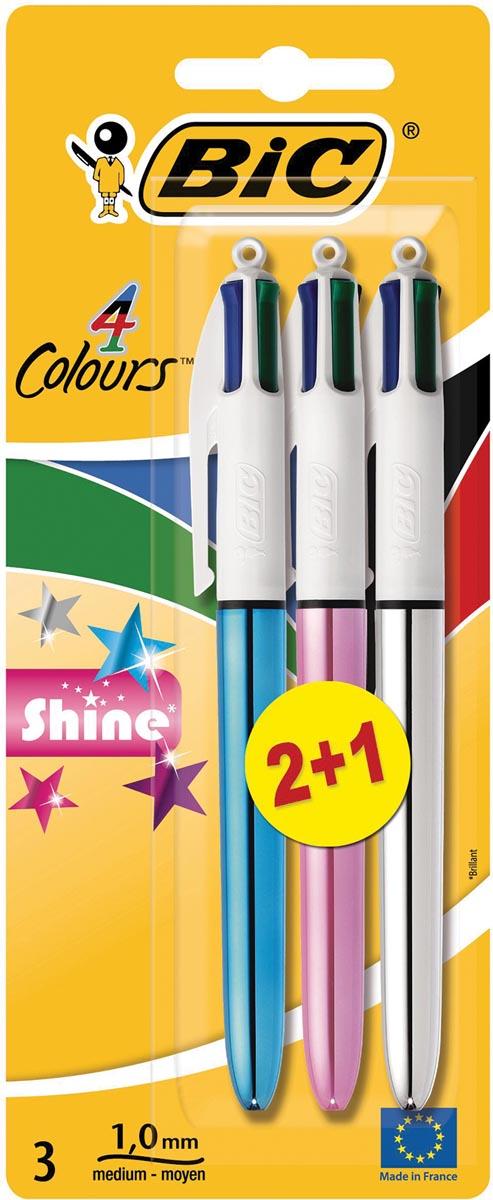 Bic balpen 4 Colours Shine, blister met 2 + 1 gratis