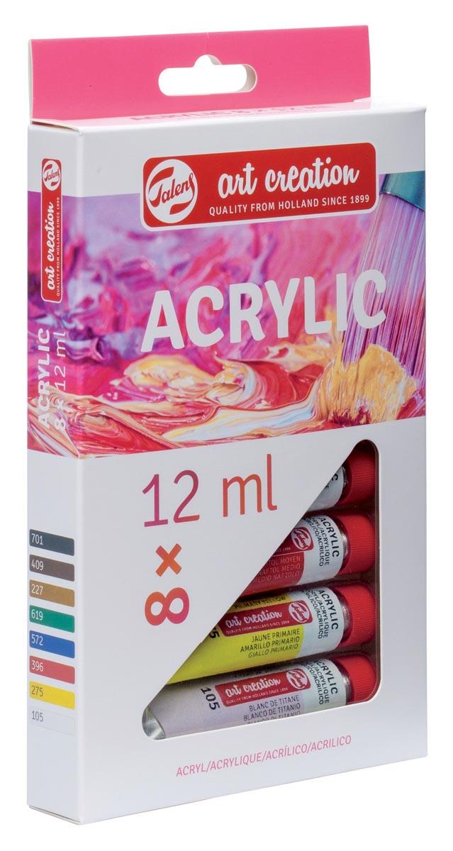 Talens Art Creation acrylverf tube van 12 ml, set van 8 tubes in geassorteerde kleuren