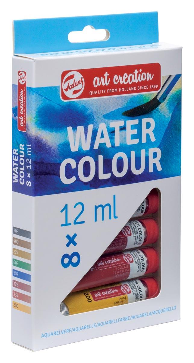 Talens Art Creation aquarelverf tube van 12 ml, set van 8 tubes in geassorteerde kleuren