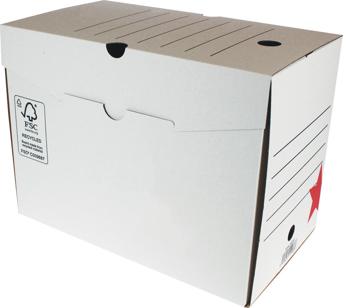 Pergamy archiefdoos, 20 x 25 x 33 cm (l x h x p), wit, manuele montage