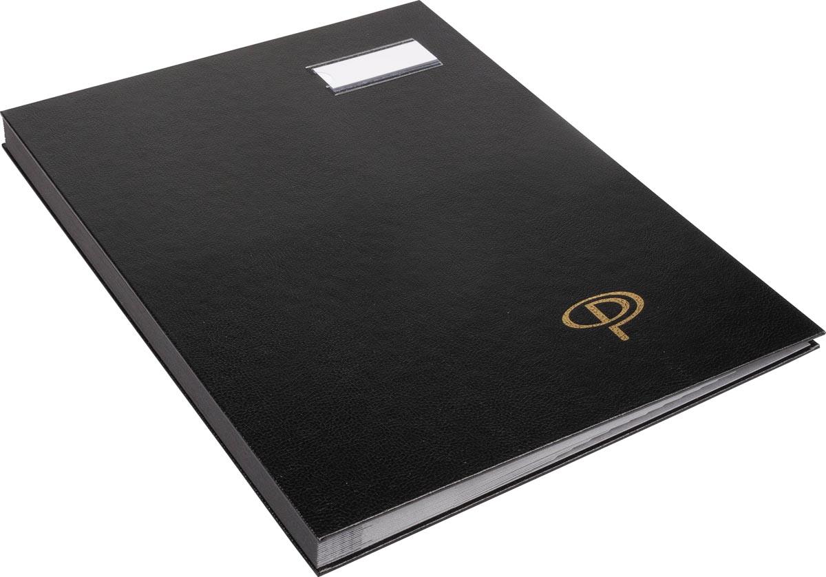 Pergamy handtekenmap 16 vakken, kunststof deksel in zwart PVC, ft: 24 x 32 cm