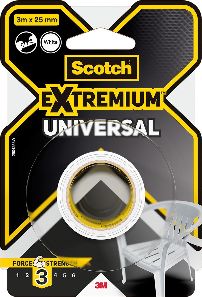 Scotch ducttape Extremium Universal, ft 25 mm x 3 m, wit