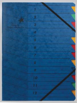 5 star sorteermap blauw, 12-delig
