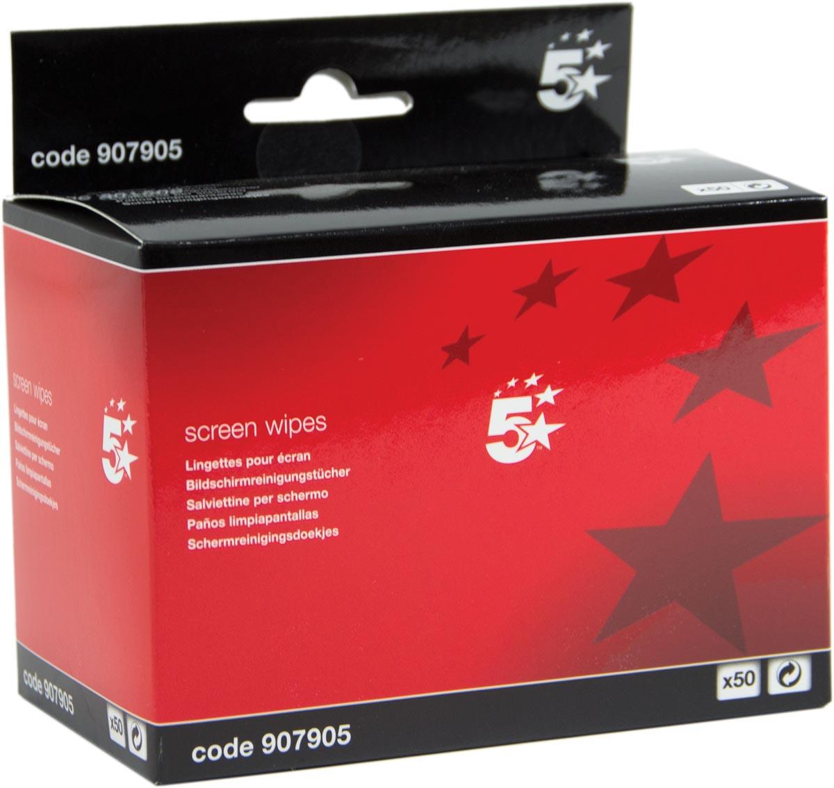 5 Star antistatische schermreinigingsdoekjes, pak van 50 doekjes