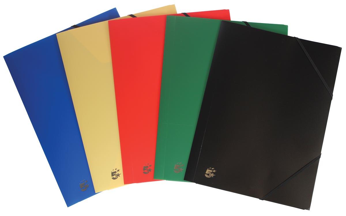 5 Star elastomap geassorteerde kleuren: rood, blauw, groen geel en zwart