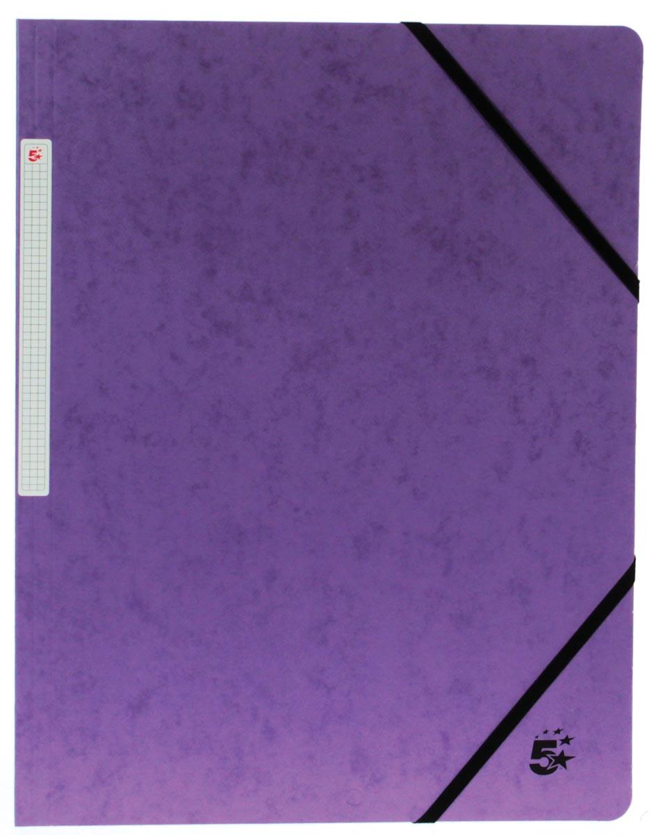 5 Star elastomap, ft A4 (24x32 cm), met elastieken zonder kleppen, paars, pak van 10 stuks