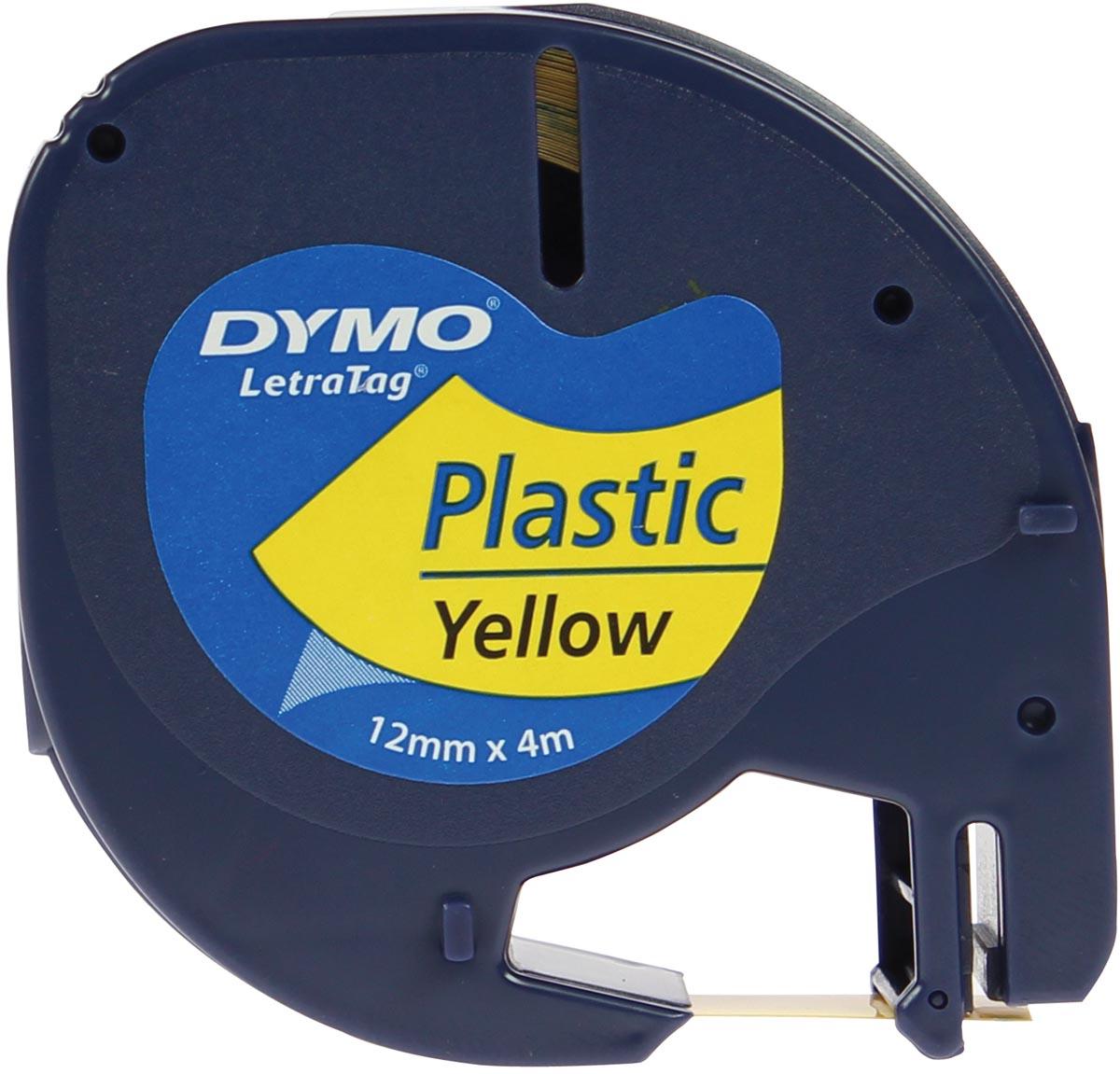 Dymo LetraTAG tape 12 mm, plastic geel