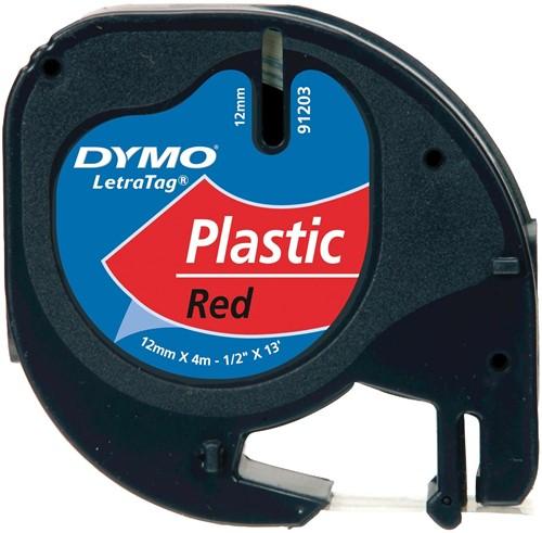 Dymo LetraTAG tape 12 mm, plastic rood