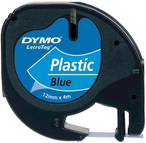 Dymo LetraTAG tape 12 mm, plastic blauw