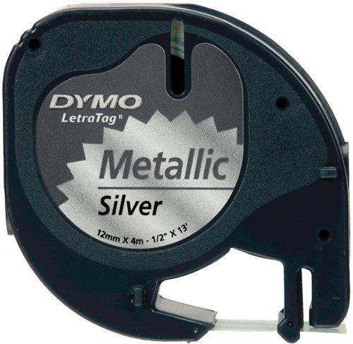 Dymo LetraTAG tape 12 mm, metallic zilver