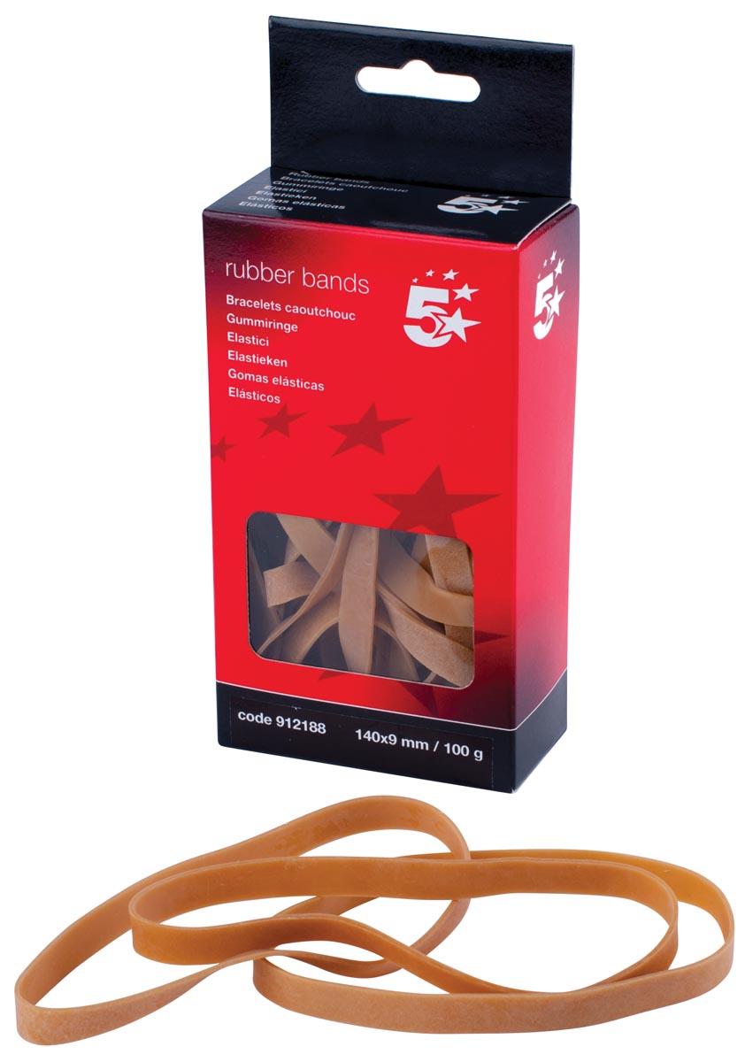 5 Star elastieken 9 mm x 140 mm, doos van 100 g