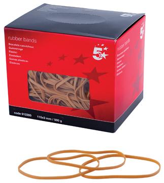 5 Star elastieken 3 mm x 115 mm, doos van 500 g