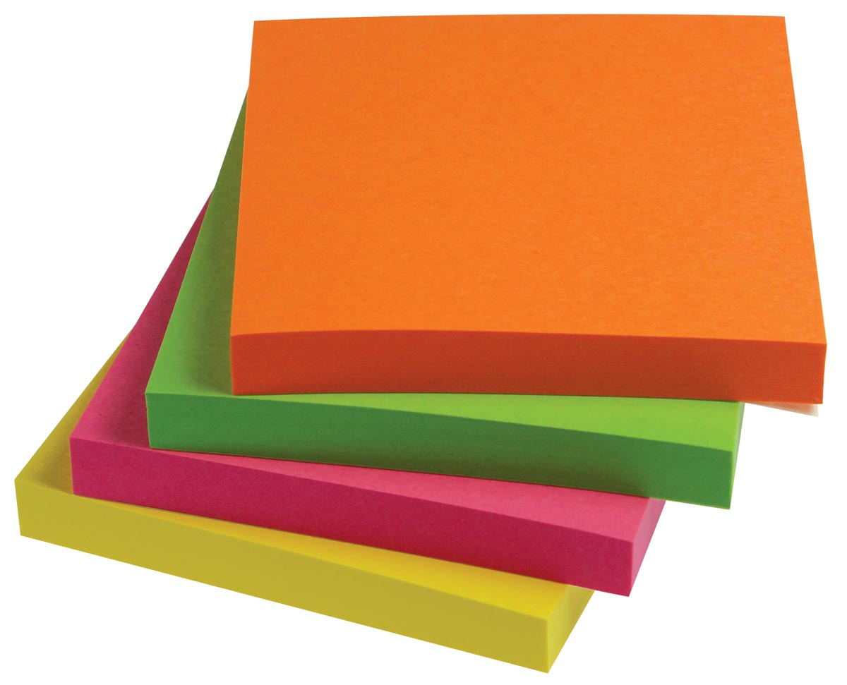 5 Star Neon Re-Move Notes ft 76 x 76 mm, 100 vel, pak van 12 blokken