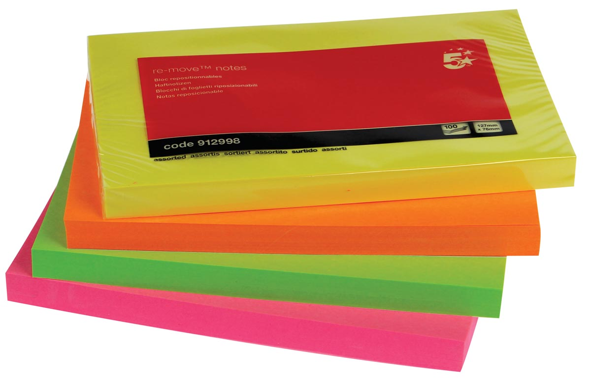 5 Star Neon Re-Move Notes ft 76 x 127 mm, 100 vel, pak van 12 blokken