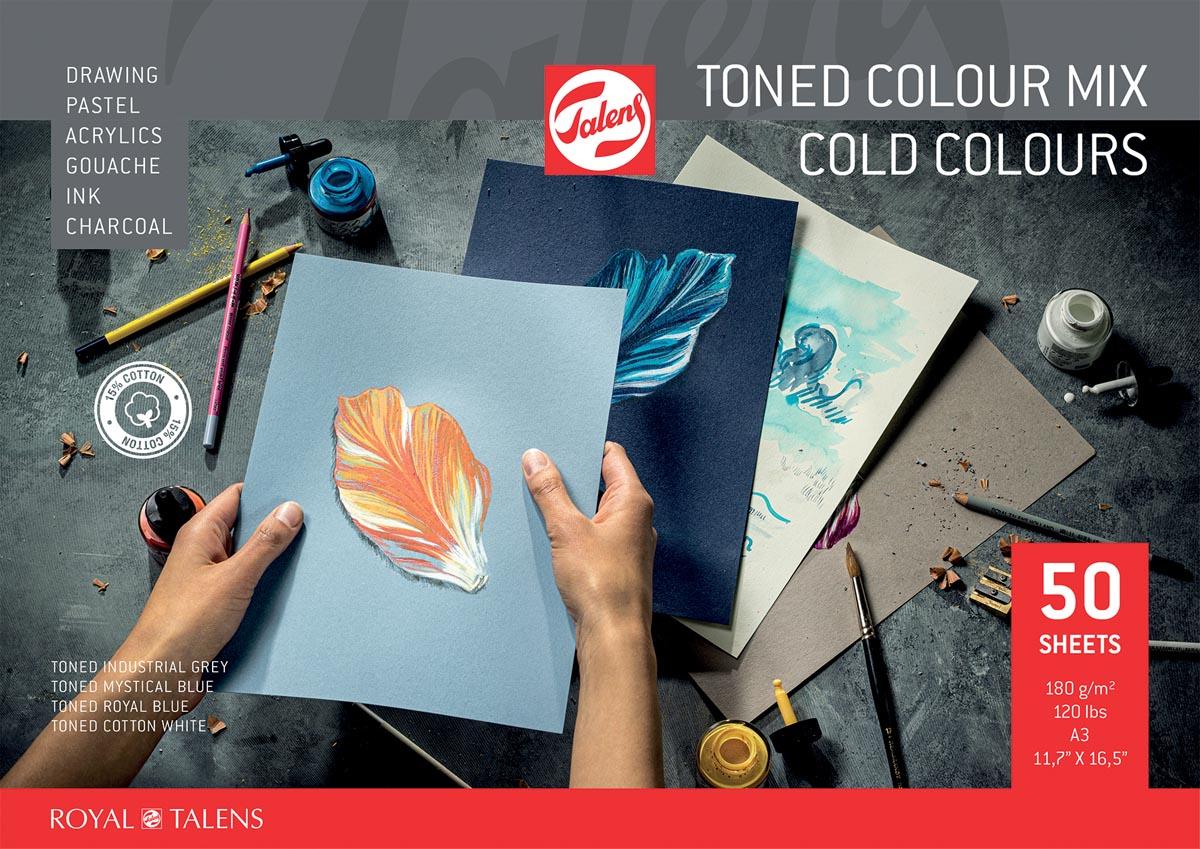 Talens gekleurd tekenpapier, koude kleuren, ft A3