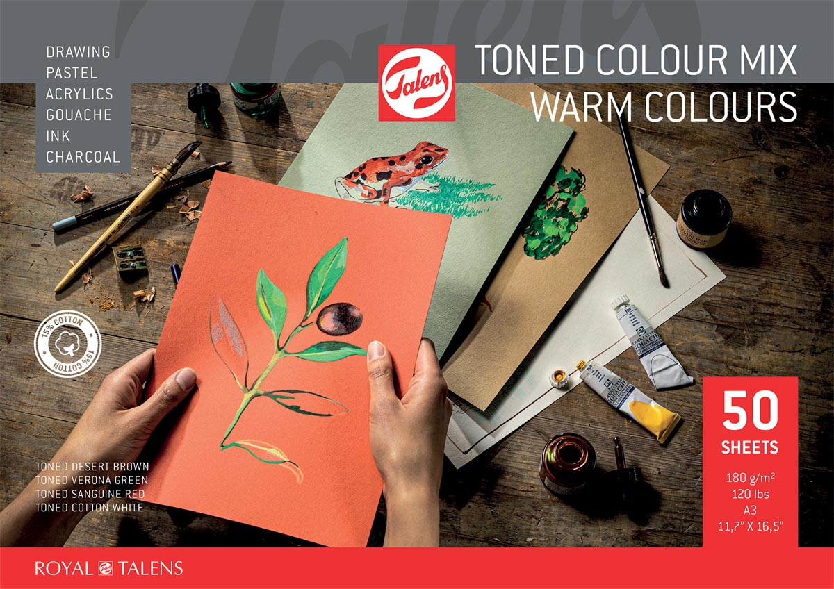 Talens gekleurd tekenpapier, warme kleuren, ft A3