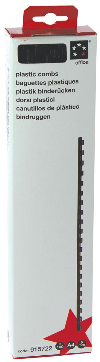 5 Star bindruggen, doos van 100 stuks, 6 mm, zwart