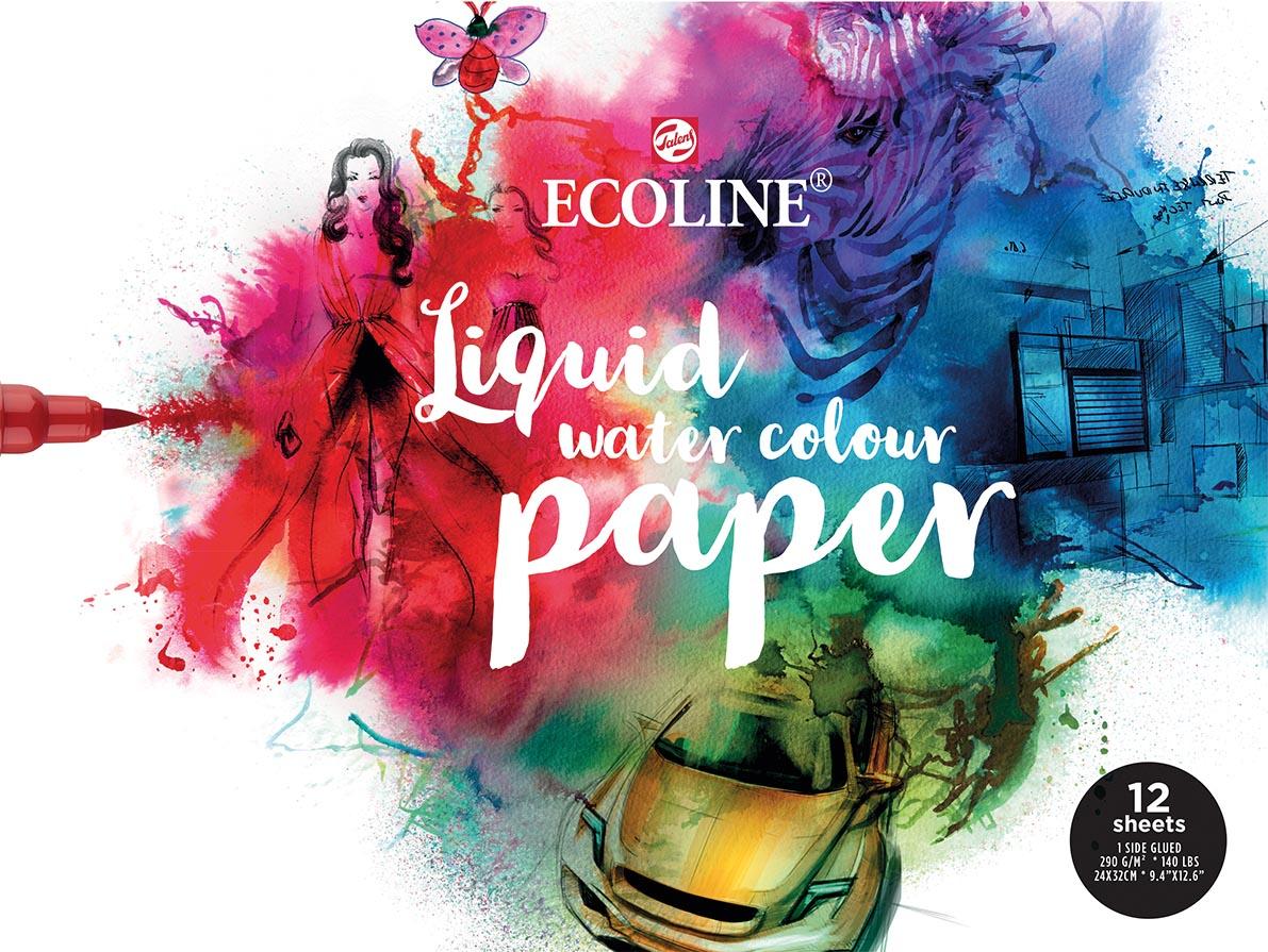 Talens Ecoline tekenpapier 24x30 cm, 290 gr, blok met 12 vellen