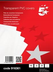 5 Star omslagen ft A4, 300 micron, uit transparante PVC, pak van 100 stuks