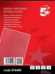 5 Star omslagen ft A4, met lederprint, rood, pak van 100 stuks