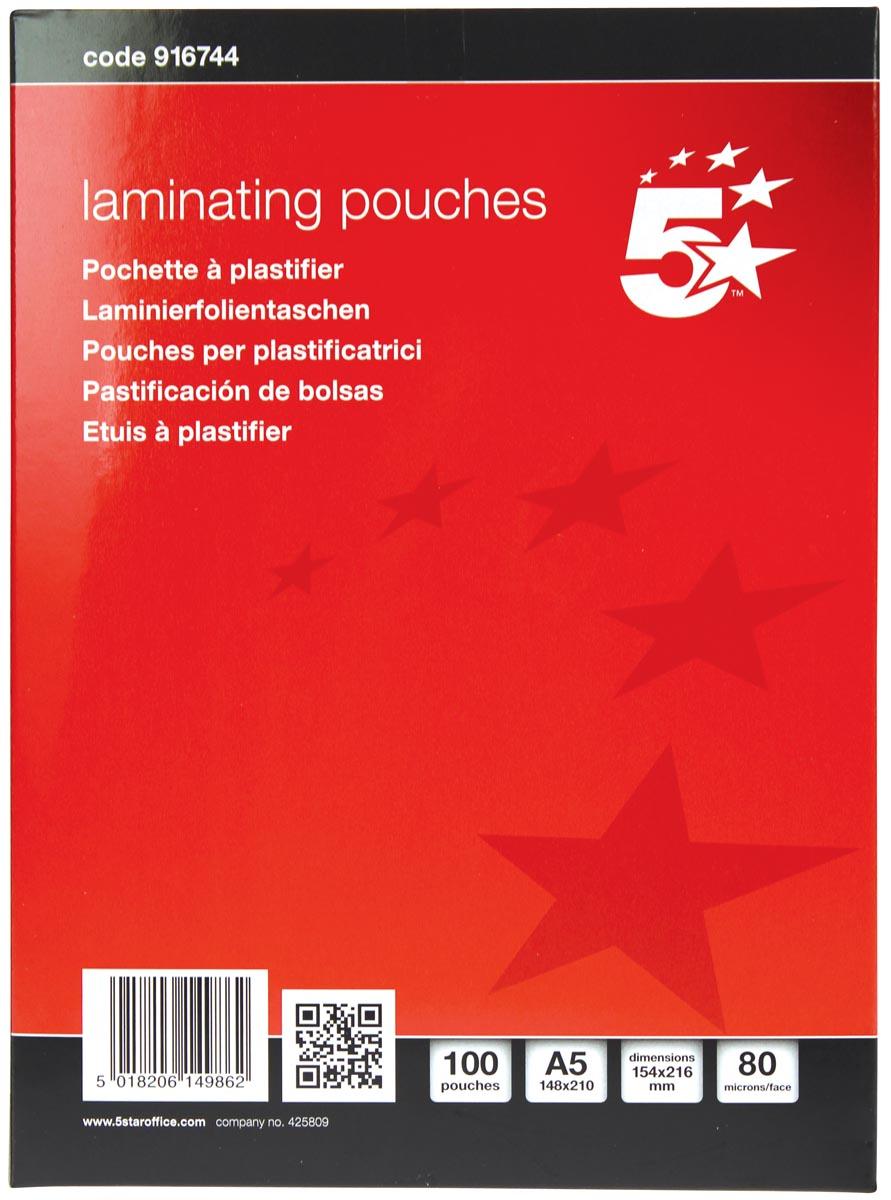5 Star lamineerhoes ft A5, 160 micron (2 x 80 micron), pak van 100 stuks