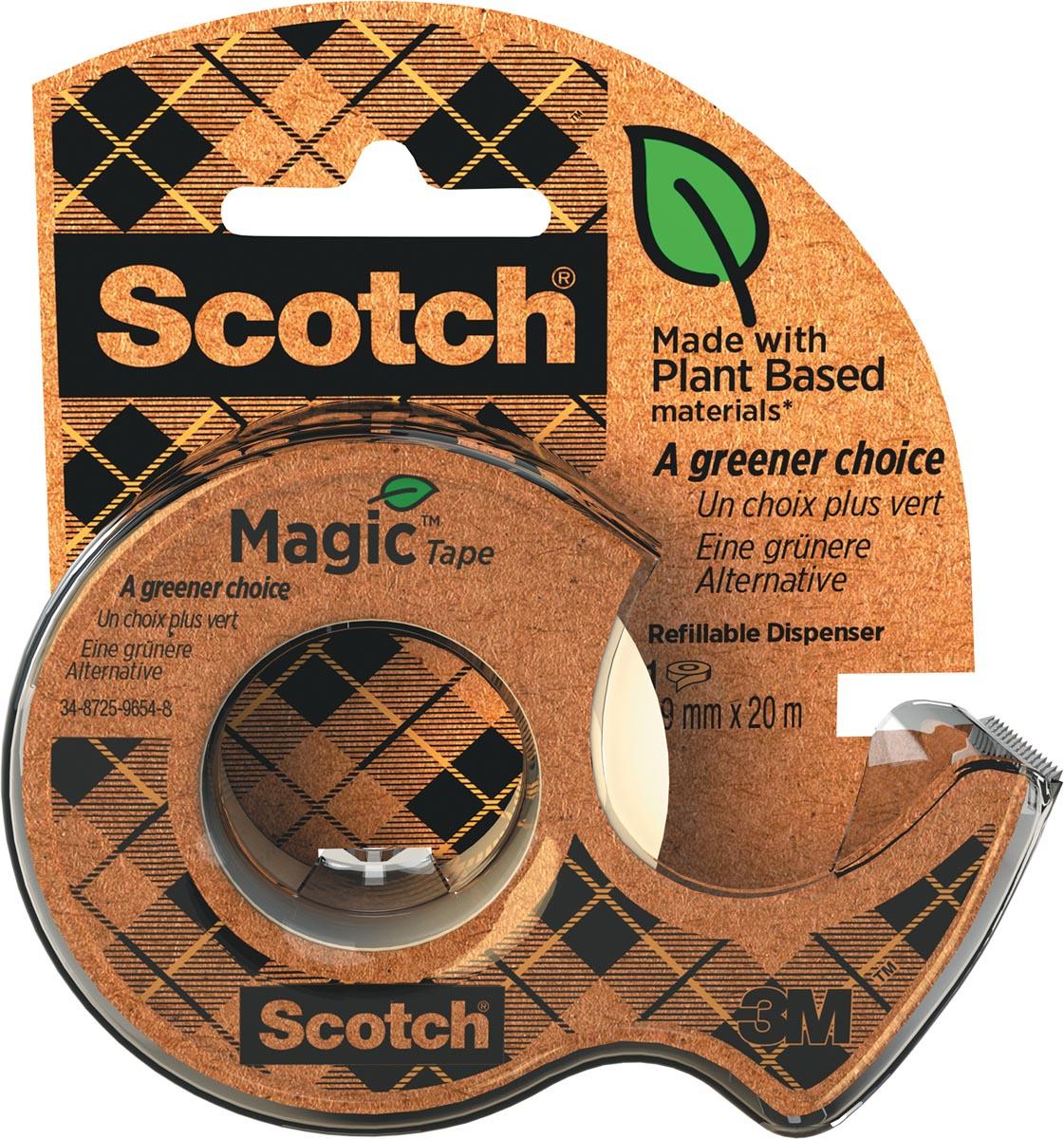 Plakband Magic Tape A greener choice, ft 19 mm, 20 m, op dispenser van 100 % gerecycleerd plastic