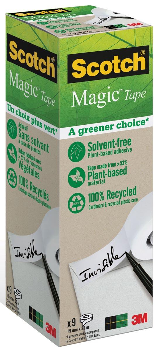 Plakband Magic Tape: A greener choice, ft 19 mm x 33 m, toren met 9 rollen