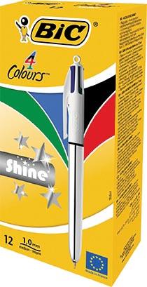 Bic balpen 4 Colours Shine, zilver, doos van 12 stuks