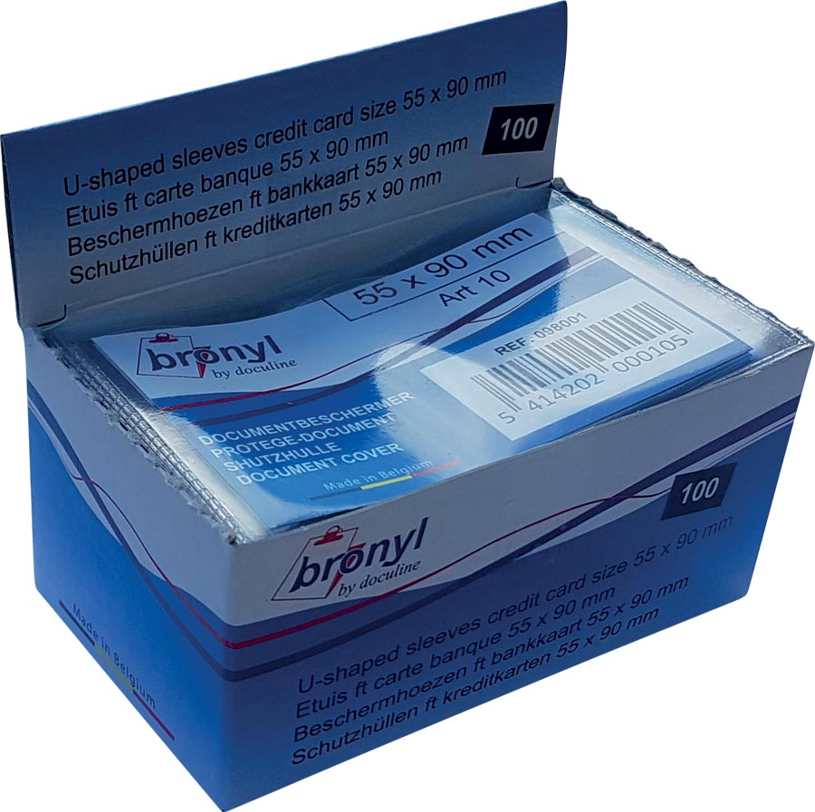 Bronyl U-mapje uit transparante PVC van 140 micron, ft kredietkaart, display van 100 stuks
