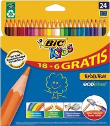 Bic Kids kleurpotloden ECOlutions Evolution, ophangdoosje met 18 + 6 gratis