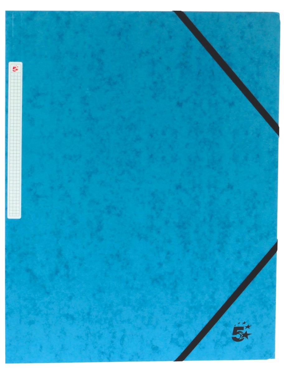 5 Star elastomap 3 kleppen blauw, pak van 10 stuks