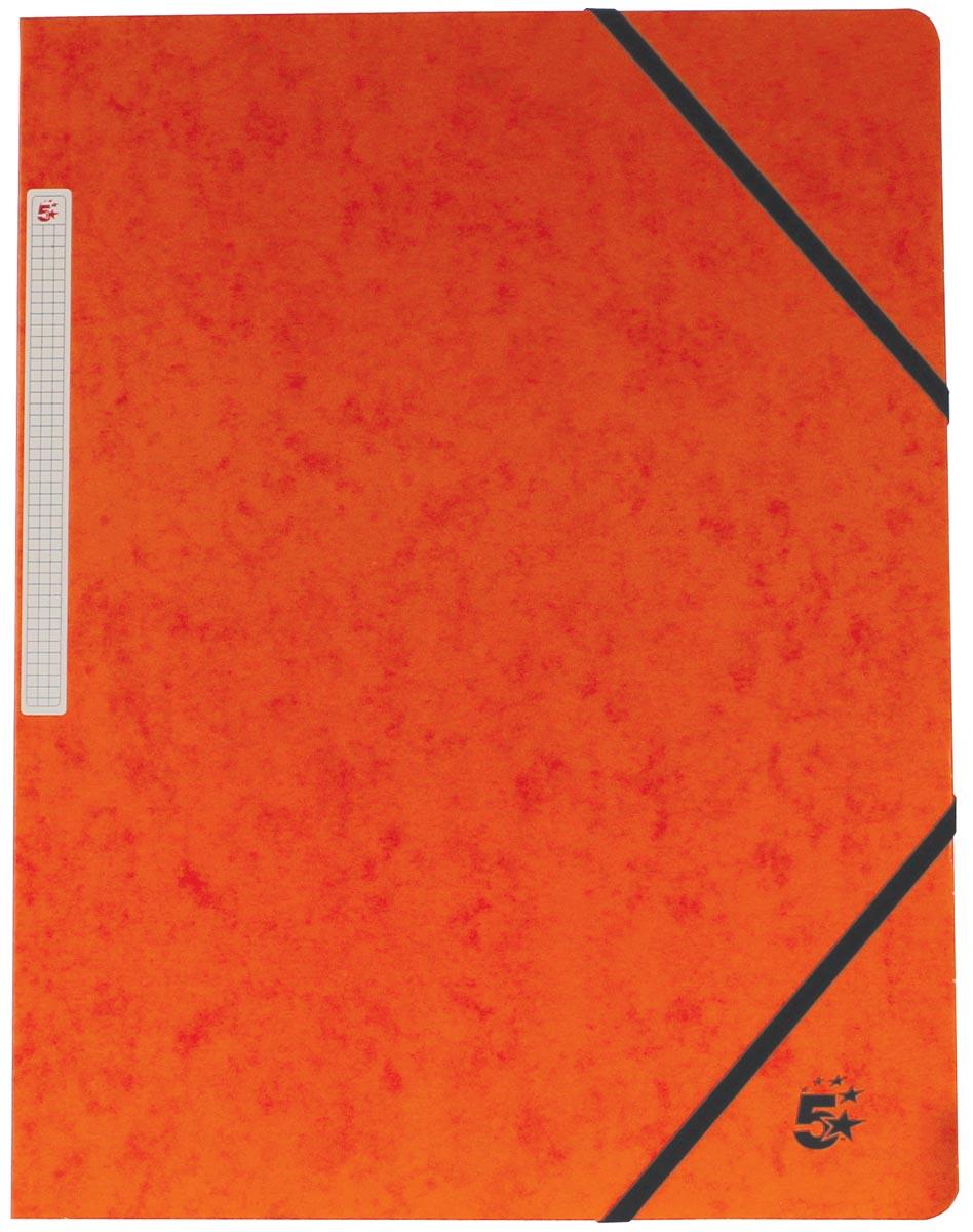 5 Star elastomap, ft A4 (24x32 cm), met elastieken zonder kleppen, oranje, pak van 10 stuks